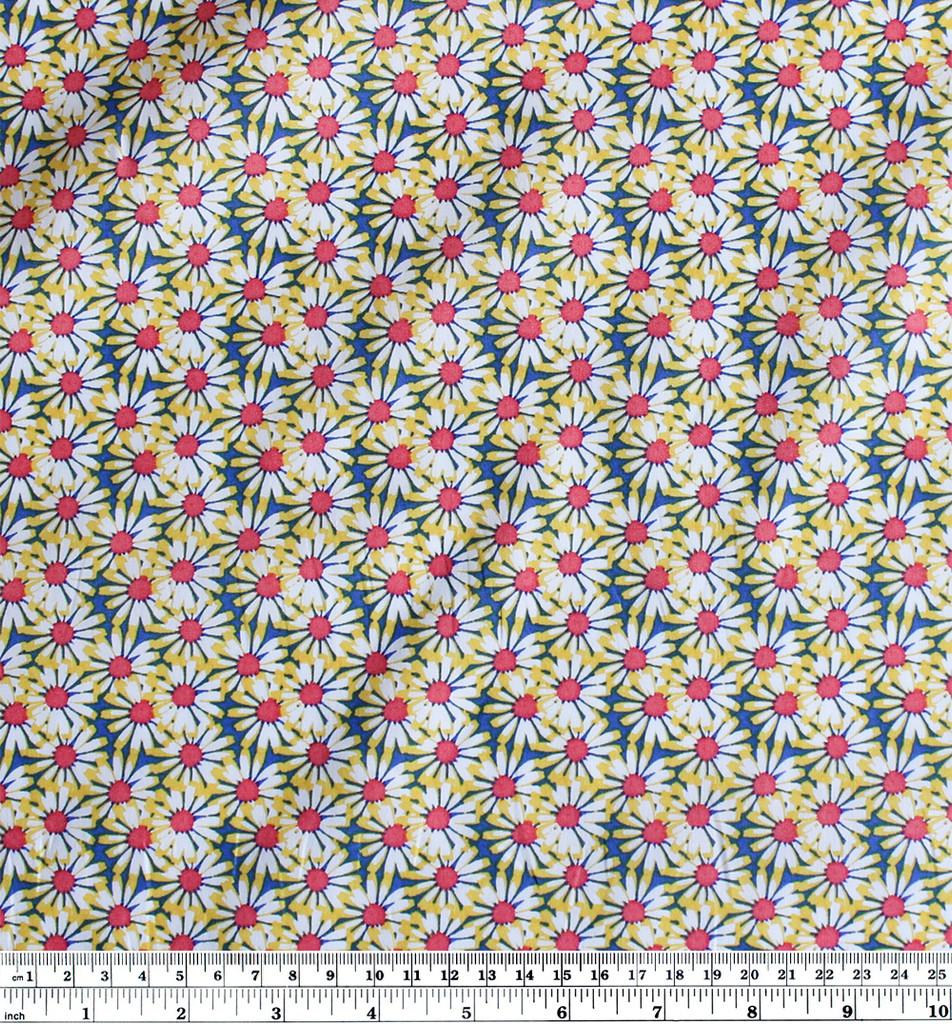 Seventies Daisies Stretch Cotton Shirting - Yellow | Blackbird Fabrics