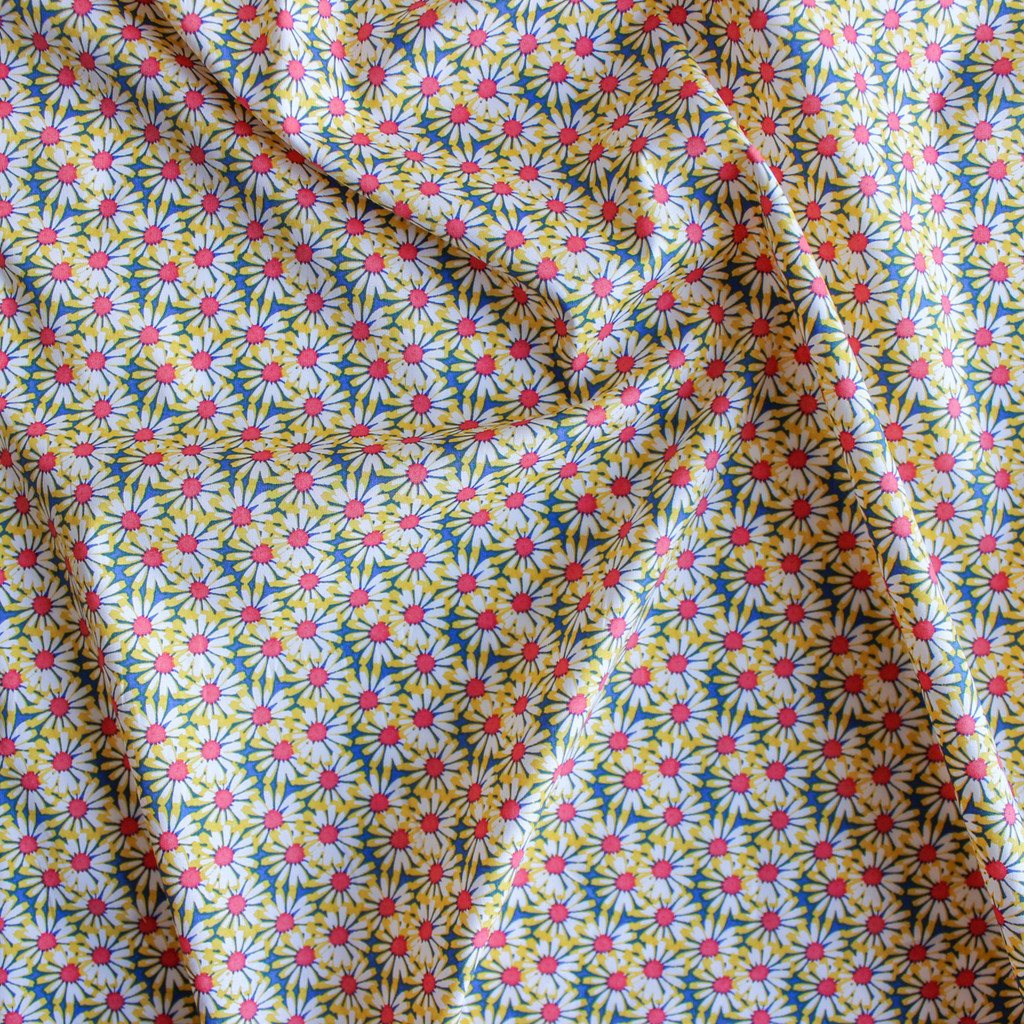 Seventies Daisies Stretch Cotton Shirting - Yellow | Blackbird Fabrics