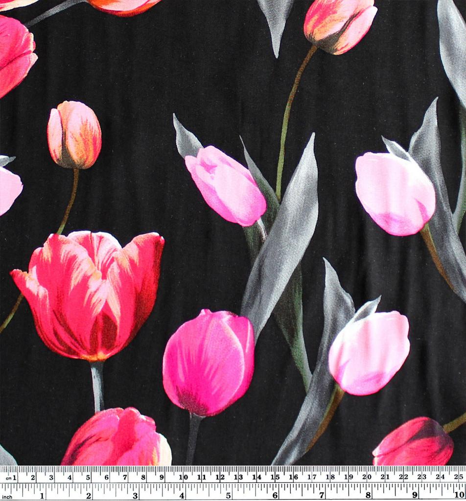 Tulips Viscose Poplin - Black/Pink | Blackbird Fabrics