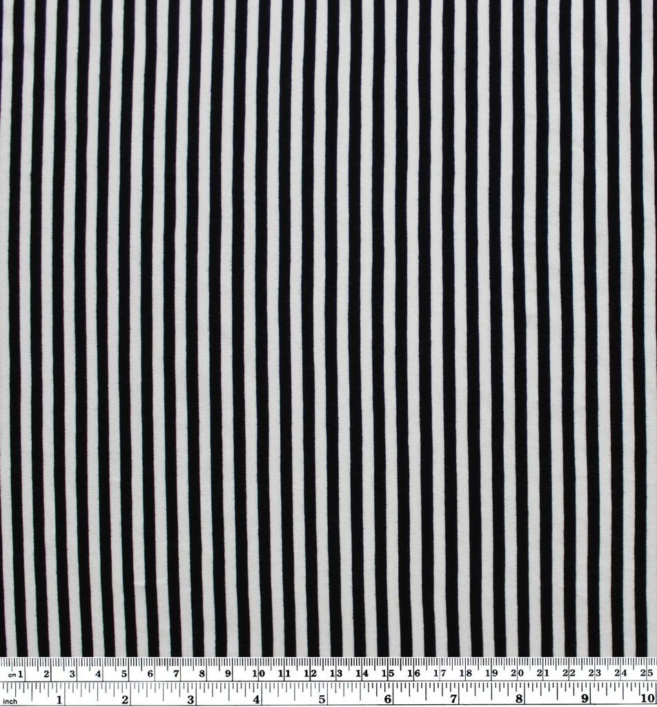 Mini Striped Bamboo Jersey Knit - Black/White | Blackbird Fabrics