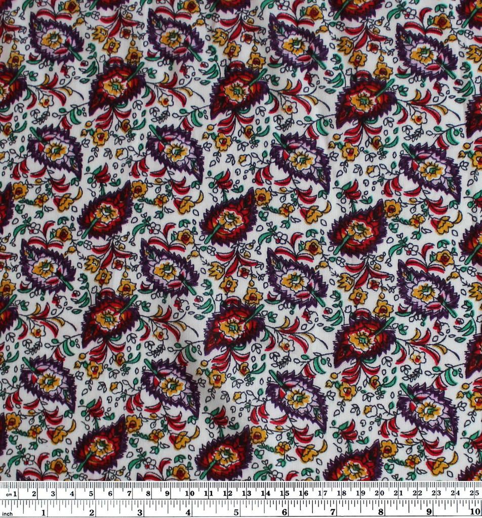 Paisley Rayon Challis - White/Multicolour | Blackbird Fabrics