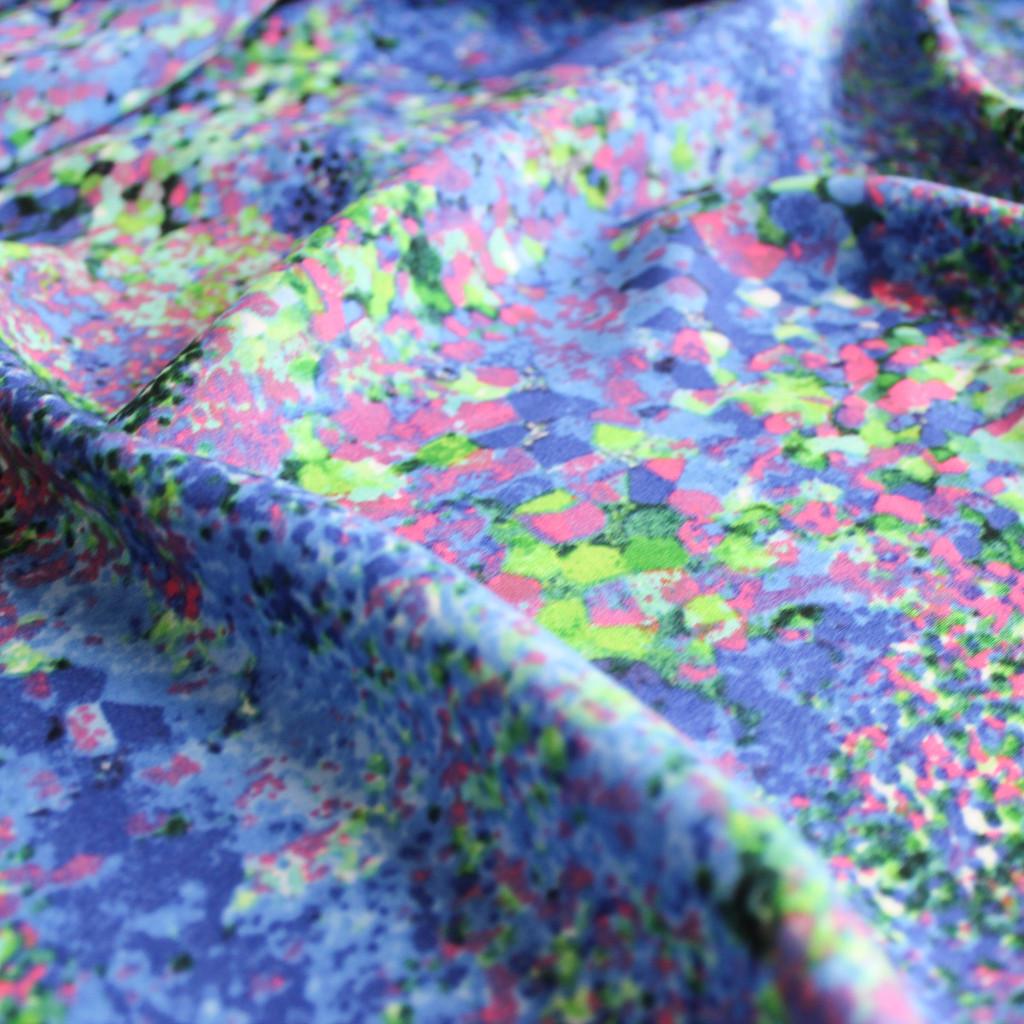 Abstract Viscose Poplin - Blue - 1/2 meter