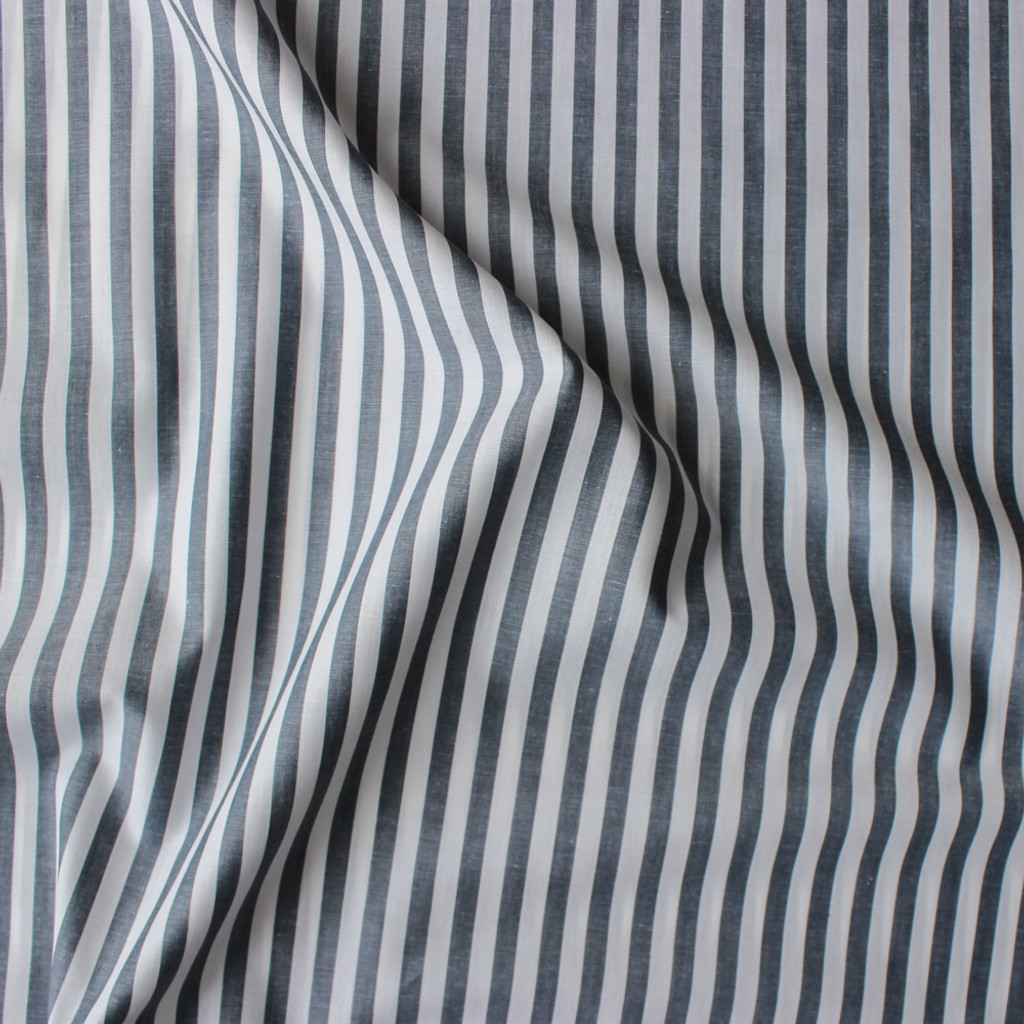 Striped Japanese Cotton Shirting - Charcoal/White   Blackbird Fabrics