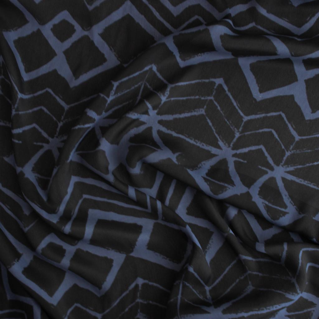 Painted Viscose & Silk Crepe - Black/Blue | Blackbird Fabrics