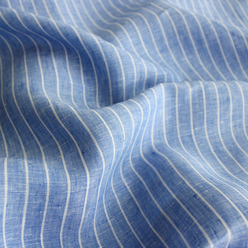 Lightweight Linen Pinstripe Chambray - Blue - 1/2 meter