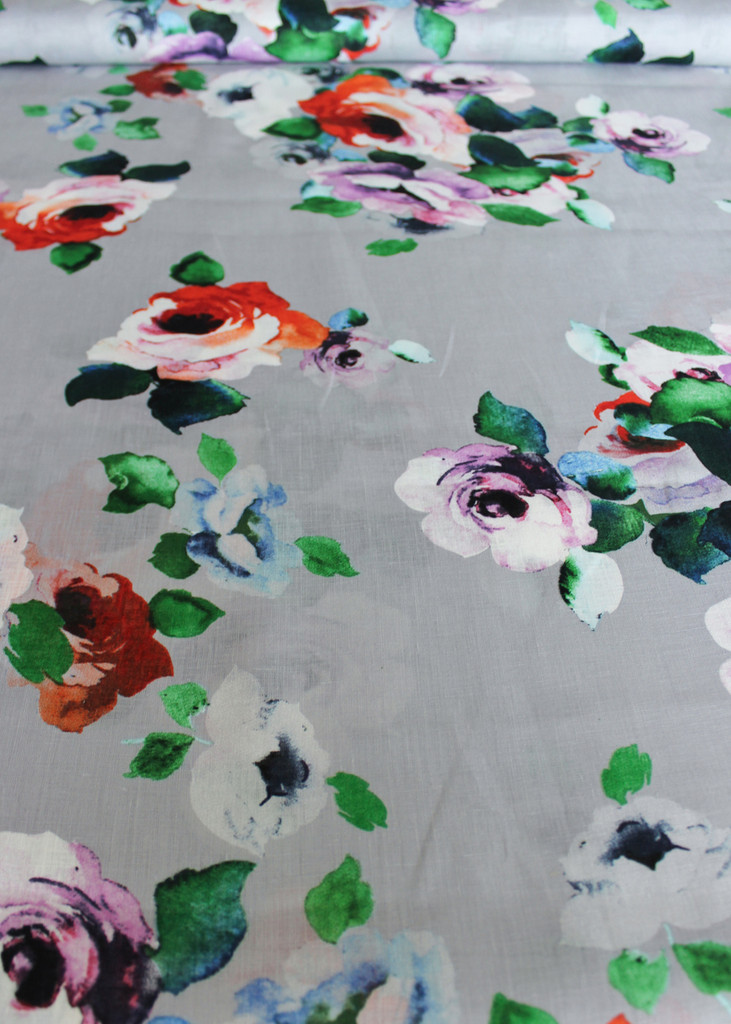 Floral Linen - Silver/Multicolour | Blackbird Fabrics