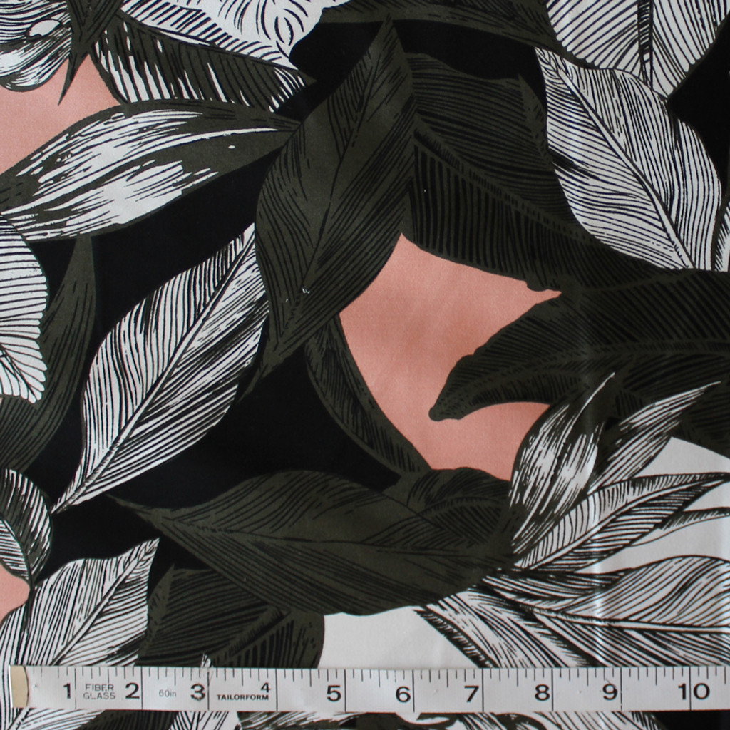 Palm Leaf Print Stretch Cotton Sateen - Blush/Olive/White/Black | Blackbird Fabrics