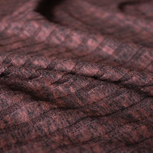 Brushed Ribbed Sweater Knit - Heathered Rust | Blackbird Fabrics