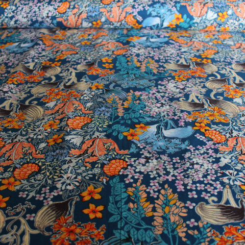 Japanese Floral Rayon Voile - Blue/Orange | Blackbird Fabrics