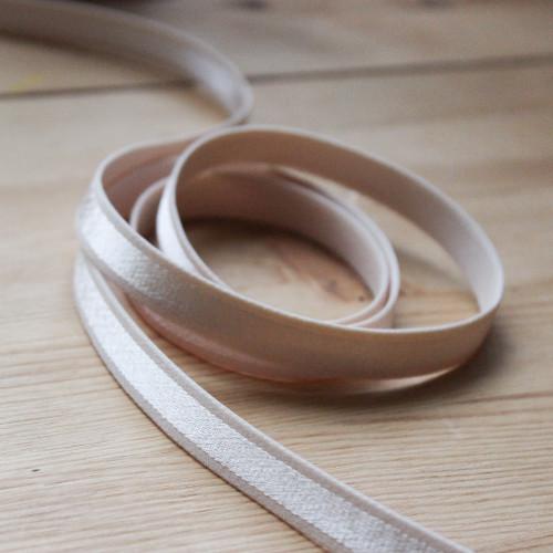 "1/2"" (12mm) Satin Stripe Elastic Strapping - Beige | Blackbird Fabrics"