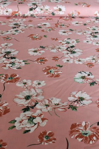 Floral Viscose Poplin - Pale Pink/White/Dove | Blackbird Fabrics