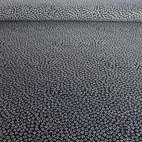 Tiny Floral Viscose Poplin - Black/White | Blackbird Fabrics