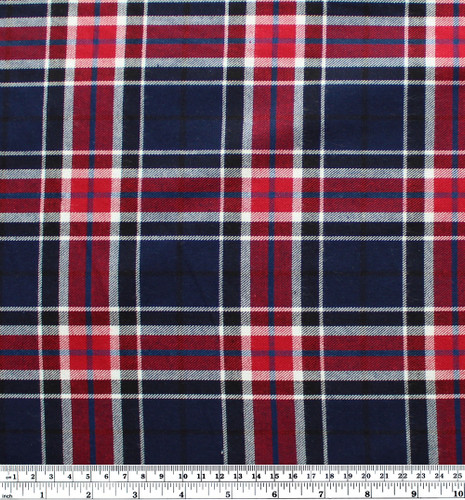 Plaid Japanese Cotton Flannel - Navy/Red/White/Blue | Blackbird Fabrics