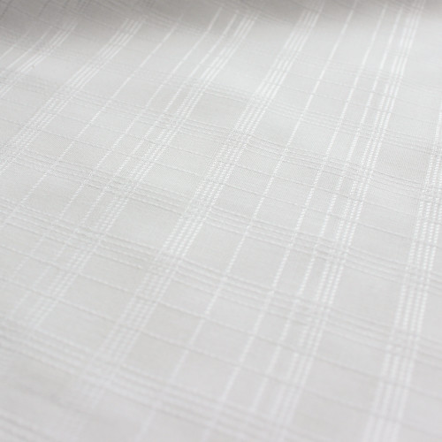 Tone on Tone Check Japanese Cotton Shirting - White | Blackbird Fabrics