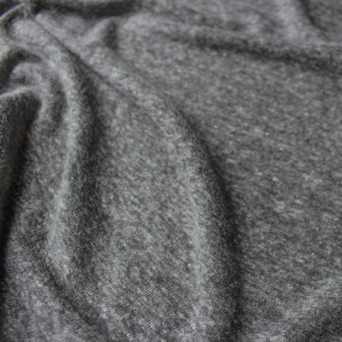 Linen & Poly Knit - Dark Heathered Grey | Blackbird Fabrics