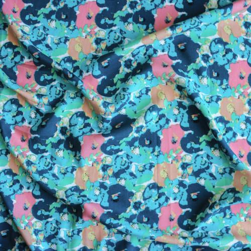 Floral Rayon Challis - Teal | Blackbird Fabrics
