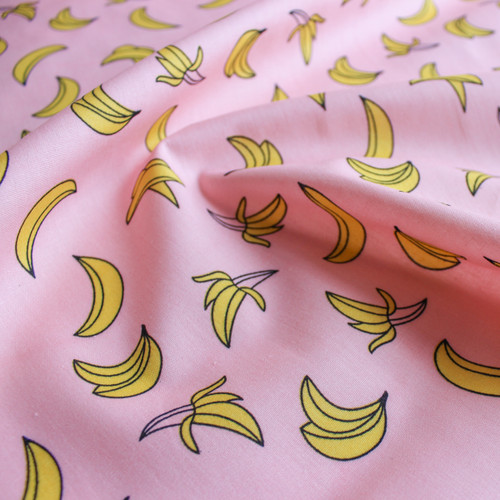 Bananas Cotton Shirting - Pink/Yellow   Blackbird Fabrics