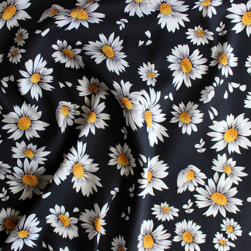 Daisies Cotton Shirting - Black/White | Blackbird Fabrics