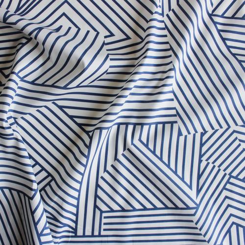 Broken Lines Stretch Cotton Shirting - White/Blue | Blackbird Fabrics
