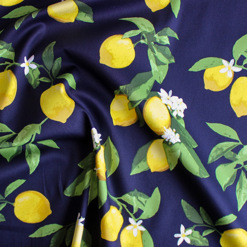 Lemons Stretch Cotton Sateen - Navy/Yellow | Blackbird Fabrics