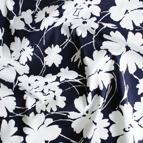 Floral Stretch Cotton Sateen - Navy/White | Blackbird Fabrics