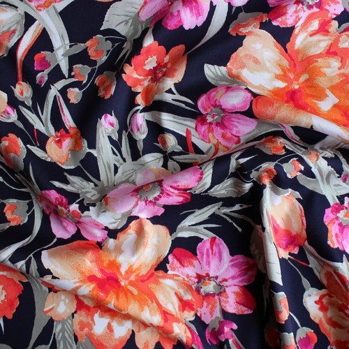 Floral Stretch Cotton Sateen - Orange/Pink/Navy | Blackbird Fabrics