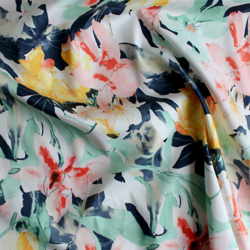 Floral Stretch Cotton Sateen - Pastels/Navy | Blackbird Fabrics