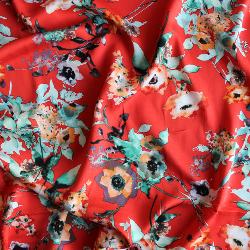 Floral Rayon Satin - Vibrant Coral | Blackbird Fabrics