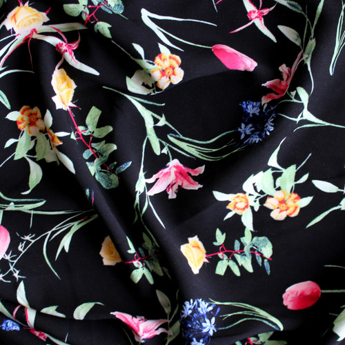 Floral Lightweight Viscose Poplin - Black/Multicolour | Blackbird Fabrics