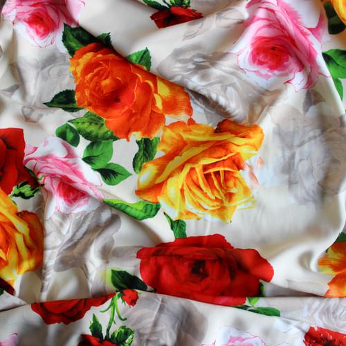 Roses Viscose Poplin - Ecru/Red | Blackbird Fabrics