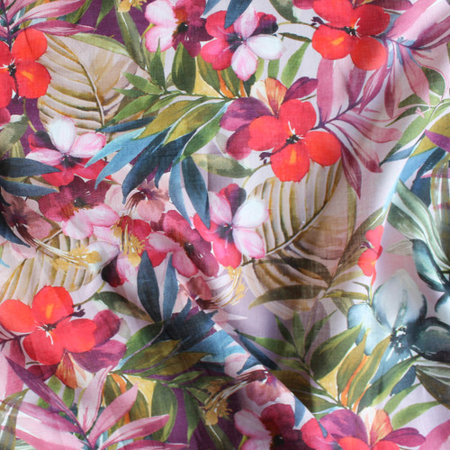 Tropical Floral Linen - Multicolour | Blackbird Fabrics