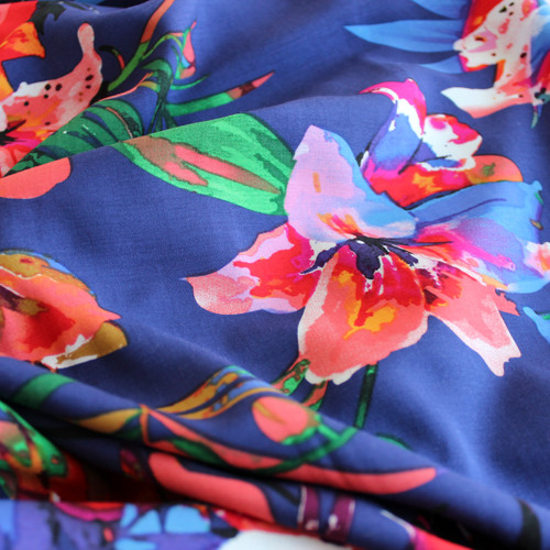 Tropical Floral Rayon Voile - Navy/Multicolor - 1/2 meter