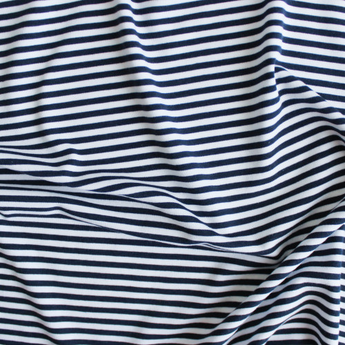 Mini Striped Bamboo & Cotton Jersey Knit - Navy/White | Blackbird Fabrics