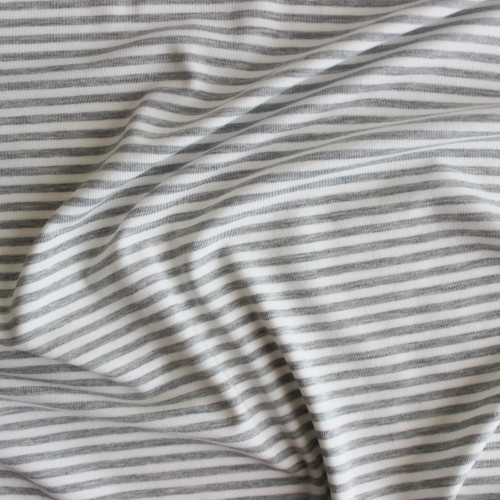 Mini Striped Bamboo & Cotton Jersey Knit - Light Heathered Grey/Ivory | Blackbird Fabrics