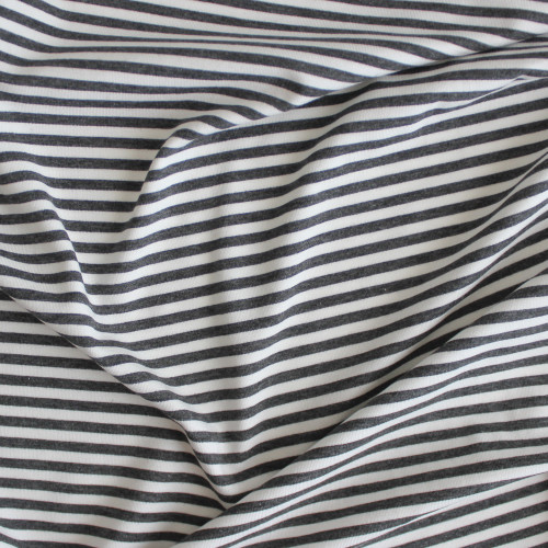 Mini Striped Bamboo & Cotton Jersey Knit - Dark Heathered Grey/Ivory | Blackbird Fabrics