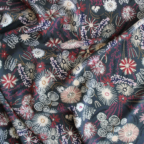 Hand Drawn Polyester Crepe - Forest | Blackbird Fabrics