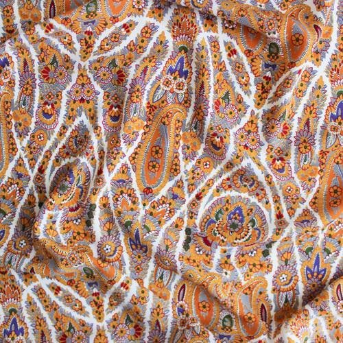 Damask Polyester Crepe - Mustard | Blackbird Fabrics