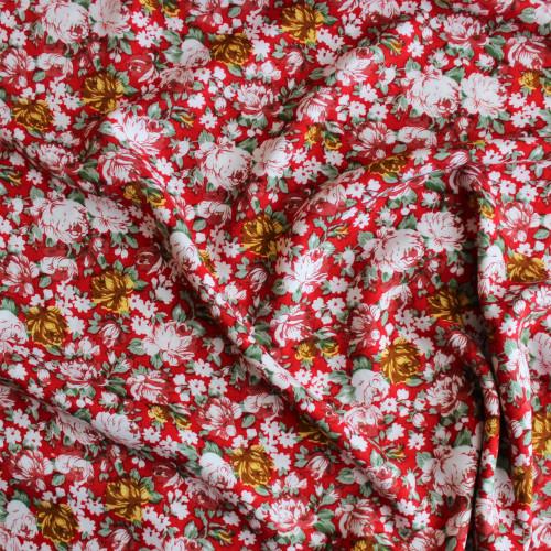 Floral Rayon Challis - Red/Multicolour  | Blackbird Fabrics