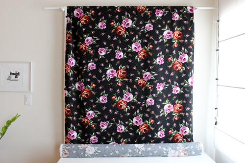 Roses Viscose Poplin - Black/Pink/Red | Blackbird Fabrics