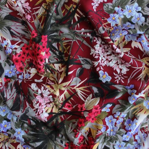 Floral Viscose Poplin - Maroon | Blackbird Fabrics