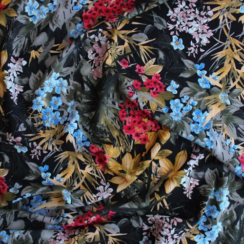 Floral Viscose Poplin - Black | Blackbird Fabrics