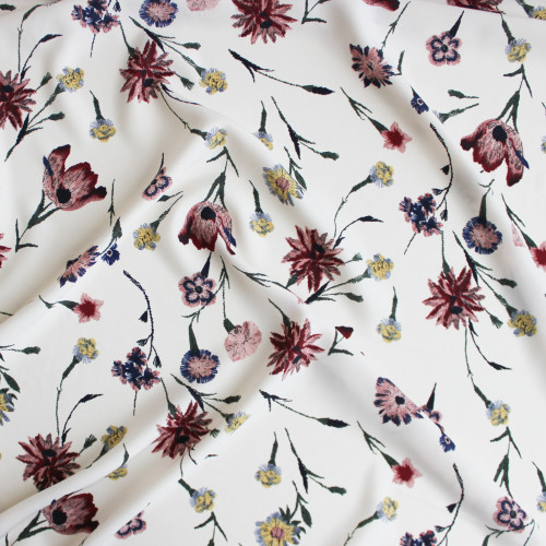 Floral Polyester Crepe - Ivory | Blackbird Fabrics