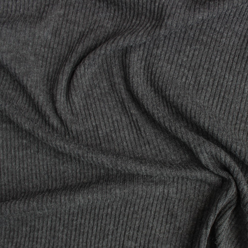 Fine Rib Sweater Knit - Dark Heathered Grey | Blackbird Fabrics