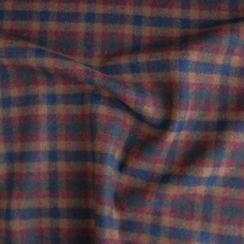 Wool Plaid Coating - Caramel/Navy/Maroon/Emerald   Blackbird Fabrics