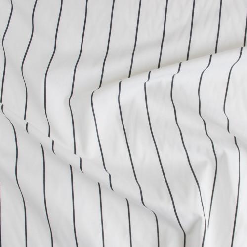 Striped Japanese Cotton Shirting - White/Charcoal   Blackbird Fabrics
