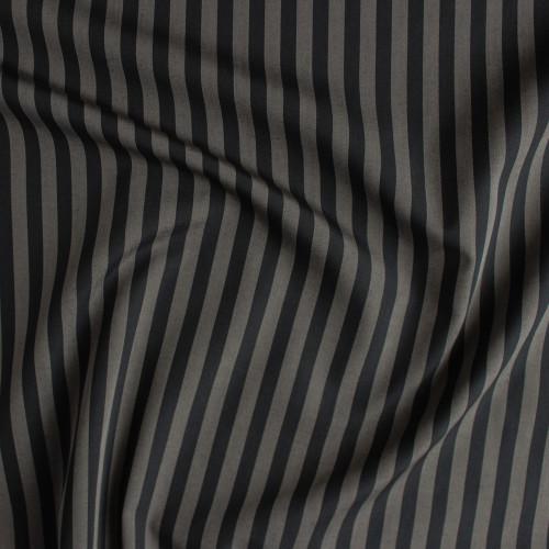 Striped Japanese Cotton Shirting - Warm Grey/Black   Blackbird Fabrics
