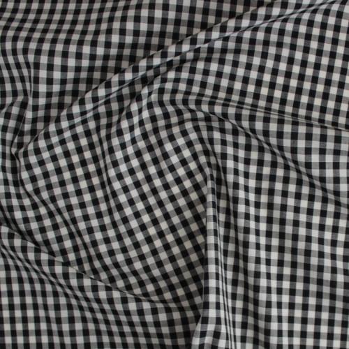 Gingham Japanese Cotton Shirting - Black/Cream   Blackbird Fabrics