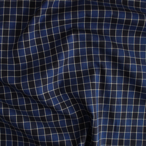 Plaid Japanese Cotton Shirting - Blue/Black | Blackbird Fabrics