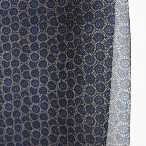 Circles Cotton & Silk Voile - Navy/Taupe | Blackbird Fabrics