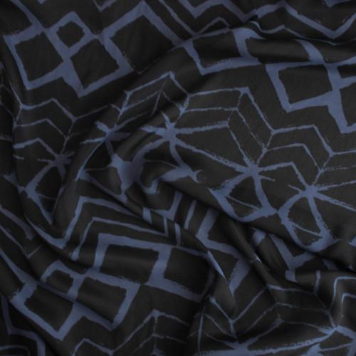 Painted Viscose & Silk Crepe - Black/Blue   Blackbird Fabrics